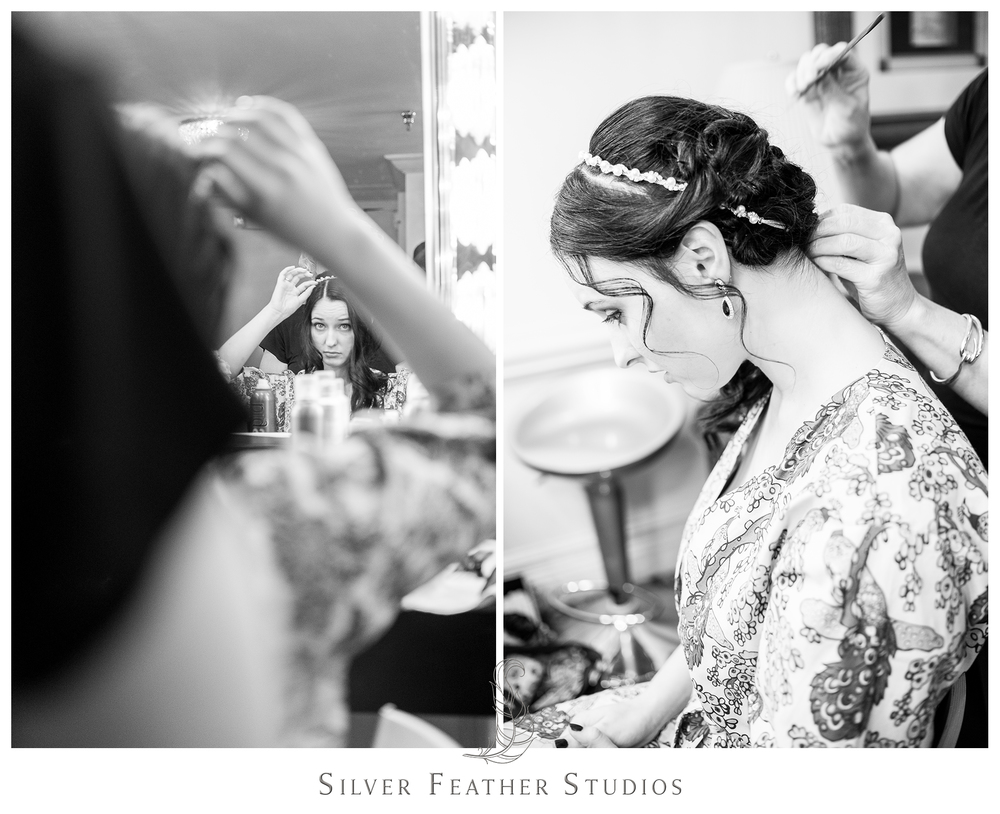 Madison has her hair pinned up for her black lace and feather inspired Empire Room wedding. © Silver Feather Studios, Greensboro wedding photography and videography.