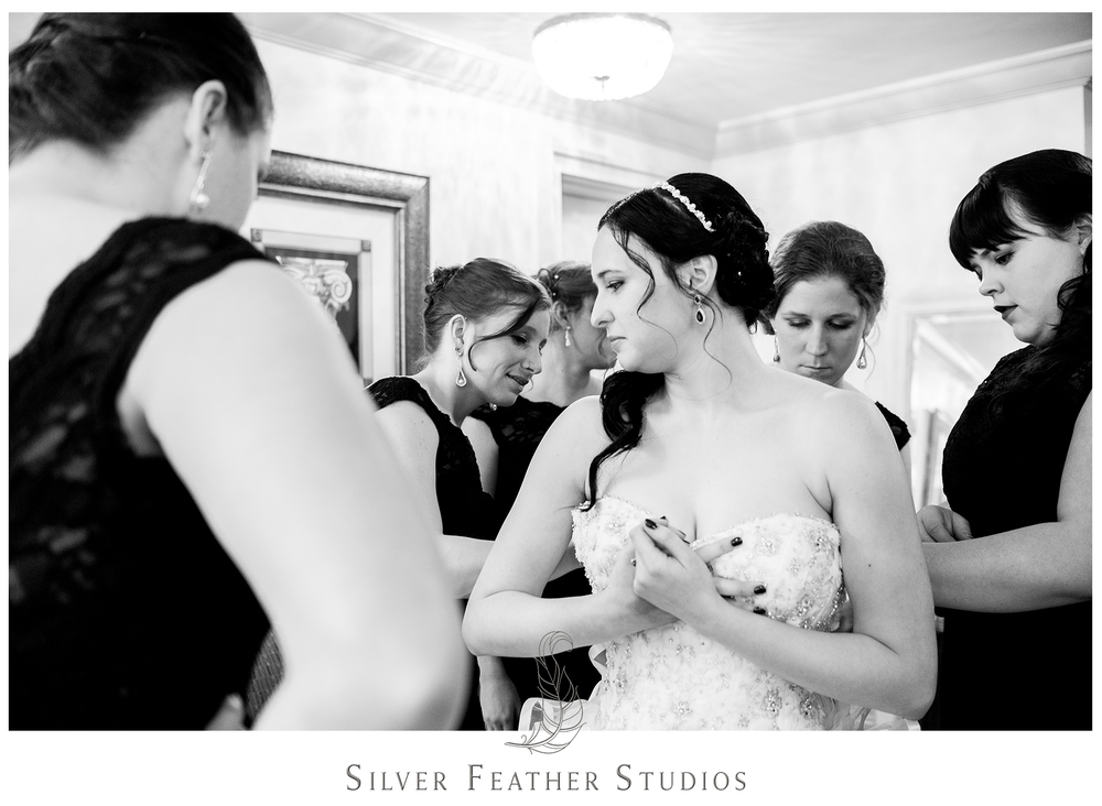 peacock inspired empire room ceremony; wedding photographer in greensboro, silver feather studios.