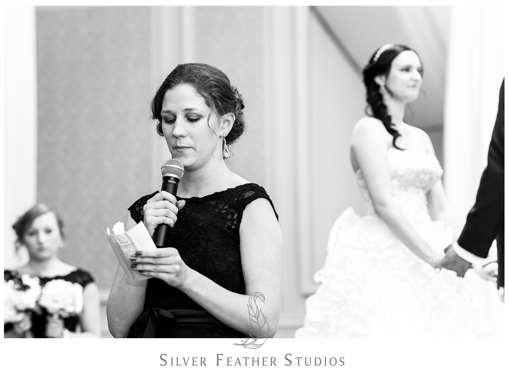 Sweet poems read at wedding ceremonies in Greensboro make for a personal and memorable experience. Photographed by Burlington wedding photographer, Silver Feather Studios.