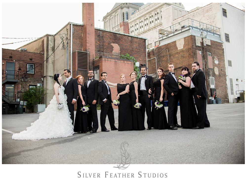 downtown greensboro wedding photography; elegant black empire room wedding.