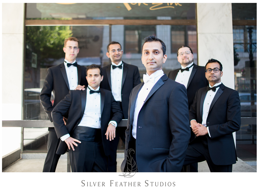 black tuxedoes, groomsmen; contemporary greensboro wedding photography.