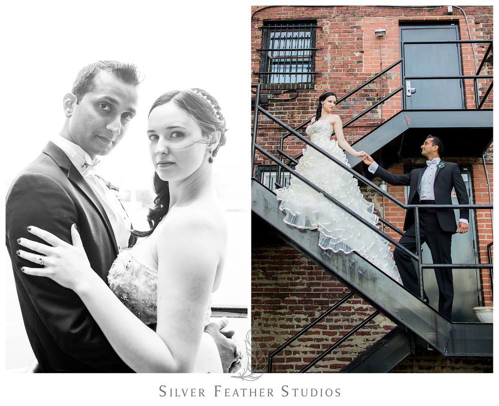 Downtown Greensboro looks stunning with this bride and groom posing alongside it.Photographed by Ariana Watts of Silver Feather Studios, a Burlington, NC wedding photography and videography company.