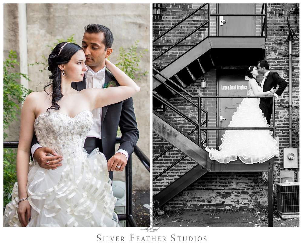 Elegant and stunning, Madison and Harsh exude a ballroom-esque style in downtown Greensboro. © Silver Feather Studios, wedding photography in Burlington, North Carolina.