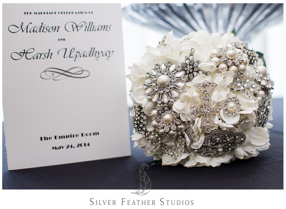 diy brooch and faux flower bouquet, empire room greensboro, nc wedding.