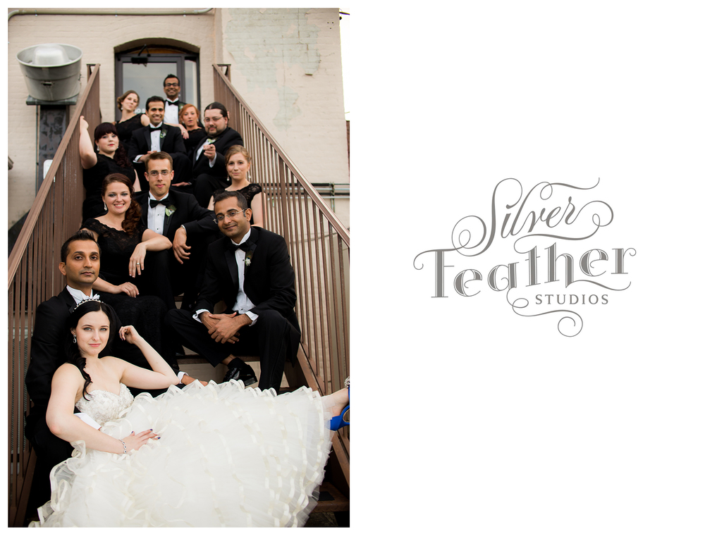 A back alley staircase in downtown Greensboro makes a fabulous frame for this wedding party. Photographed by Ariana Watts of Silver Feather Studios, a Burlington, NC wedding photography and videography company.