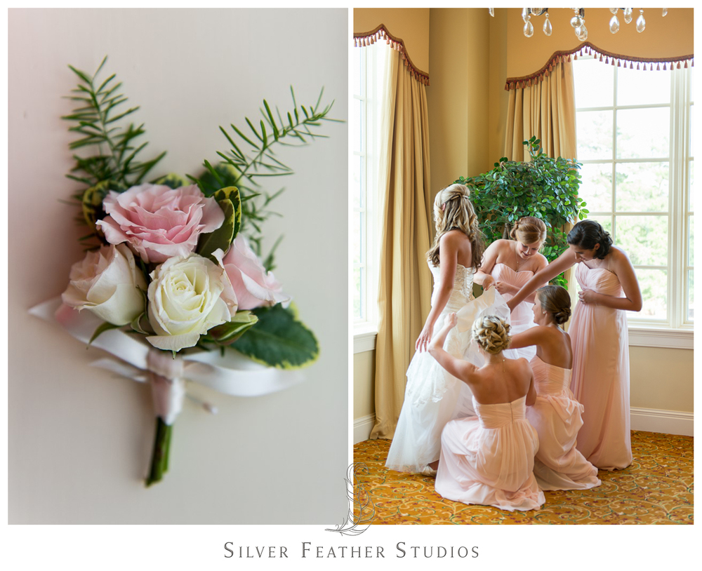 pink and ivory river landing wedding; durham wedding photography, silver feather studios.