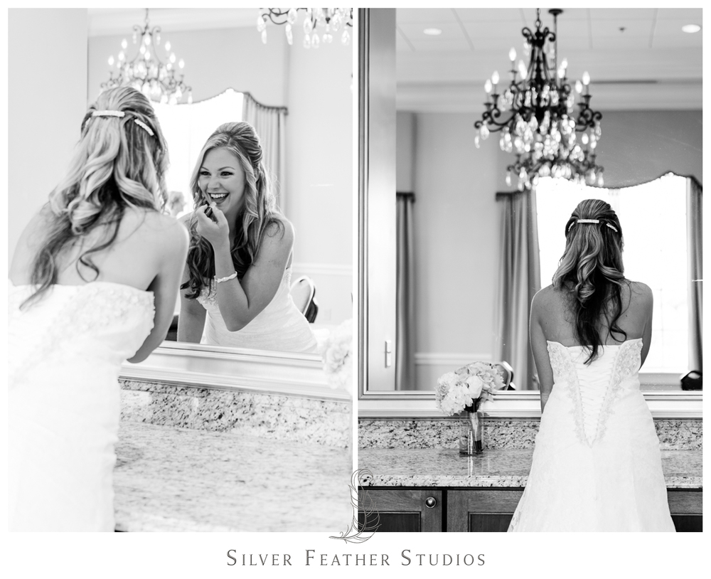 bride getting ready at river landing in wallace. raleigh wedding photography by silver feather studios.
