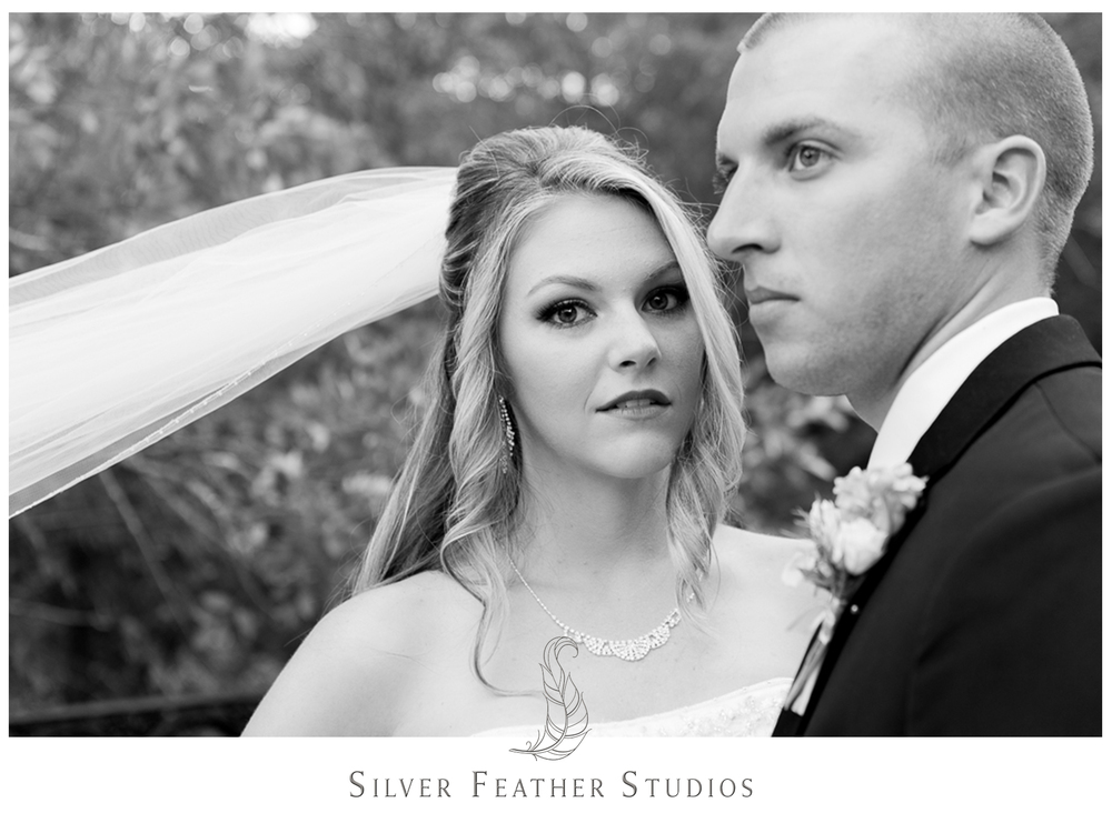 Gorgeous black and white of Megan with Jay at her Wallace North Carolina wedding.