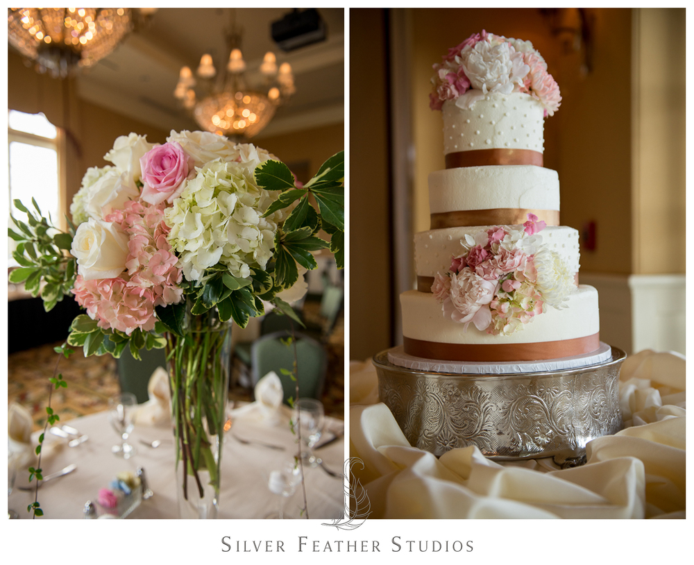 Gorgeous gold ribbon and pink flower decorated wedding cake for Megan and Jay's Wallace, NC wedding.