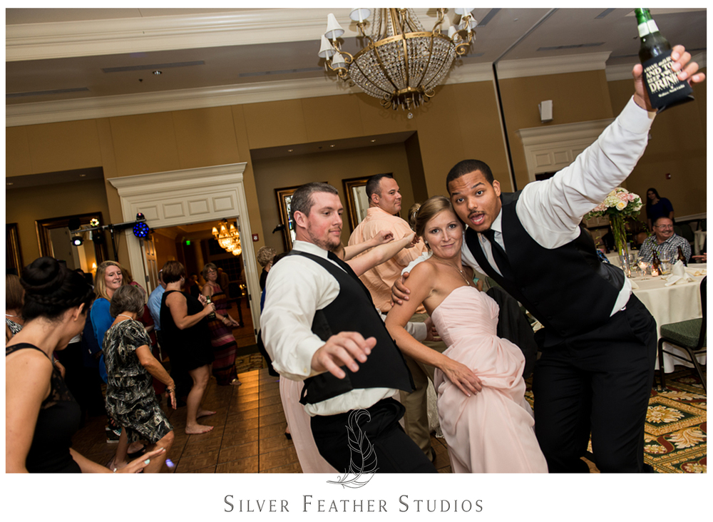 Getting their party on at Megan and Jay's wedding in Wallace, North Carolina.