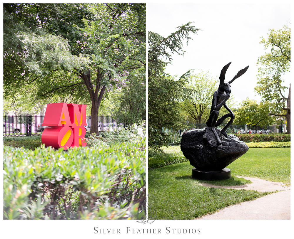 Amor and bunny sculptures in the Smithsonian's Sculpture Garden.