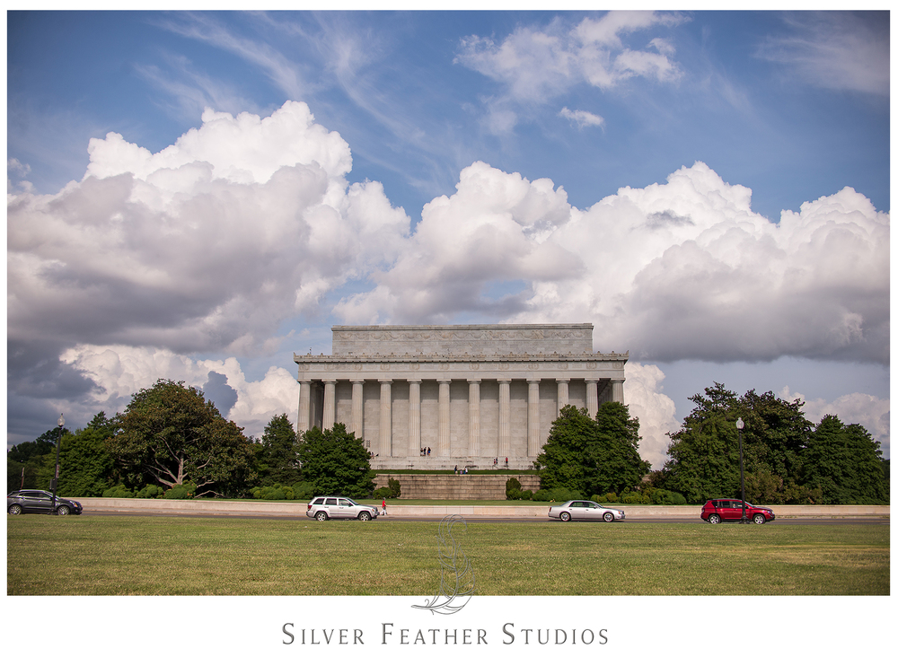 Ariana Watts of Silver Feather Studios documents the back of the Lincoln Memorial in Washington D.C.