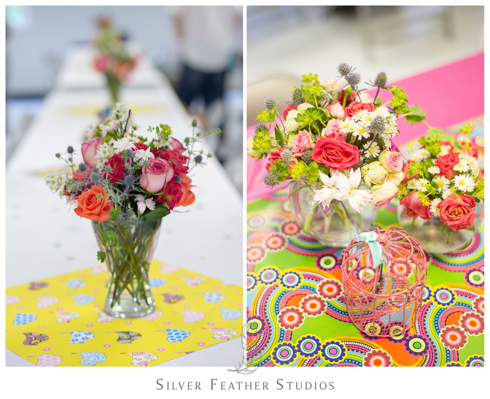 Orange, coral, yellow and pink set the tones for this birdcage-inspired baby shower.