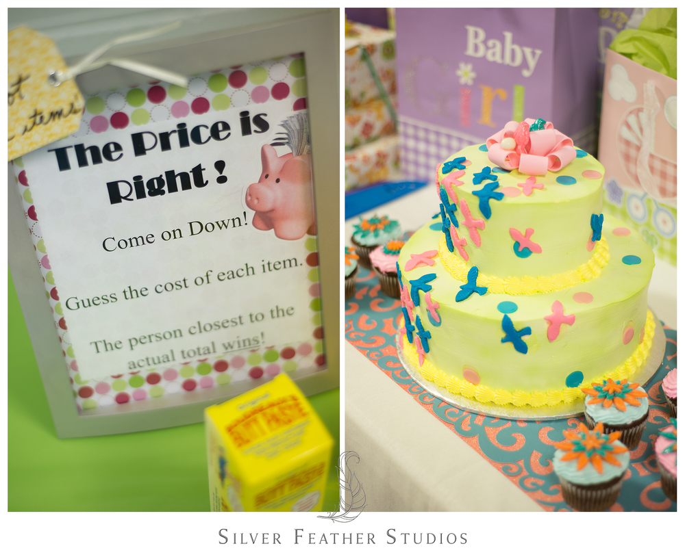 Baby shower games, and green bird covered cake for this Lake Mackintosh baby shower.