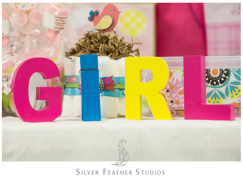 """Wooden letters spell out """"girl"""" for this birdcage inspired baby shower in Burlington, North Carolina."""