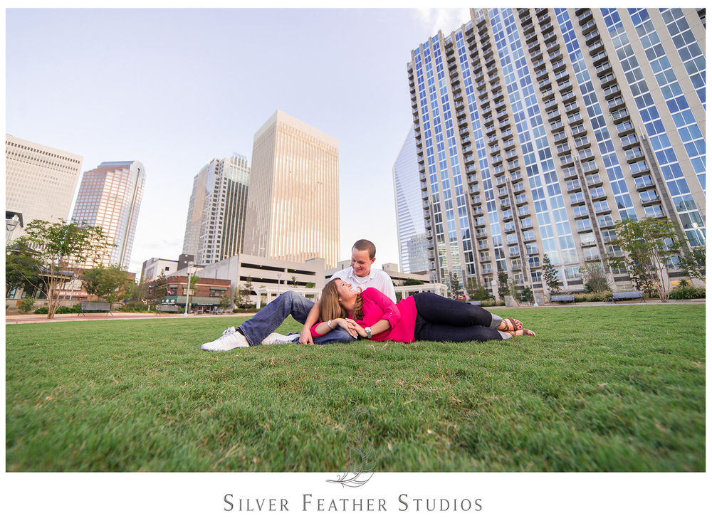 Uptown Charlotte engagement session with Ashley and Addison. Charlotte wedding photographer, silver feather studios.