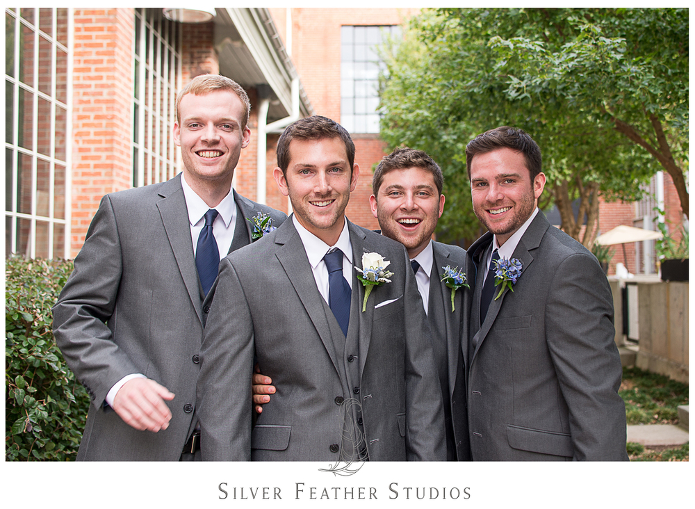 groomsmen in gray photographed by durham wedding photographers, silver feather studios.