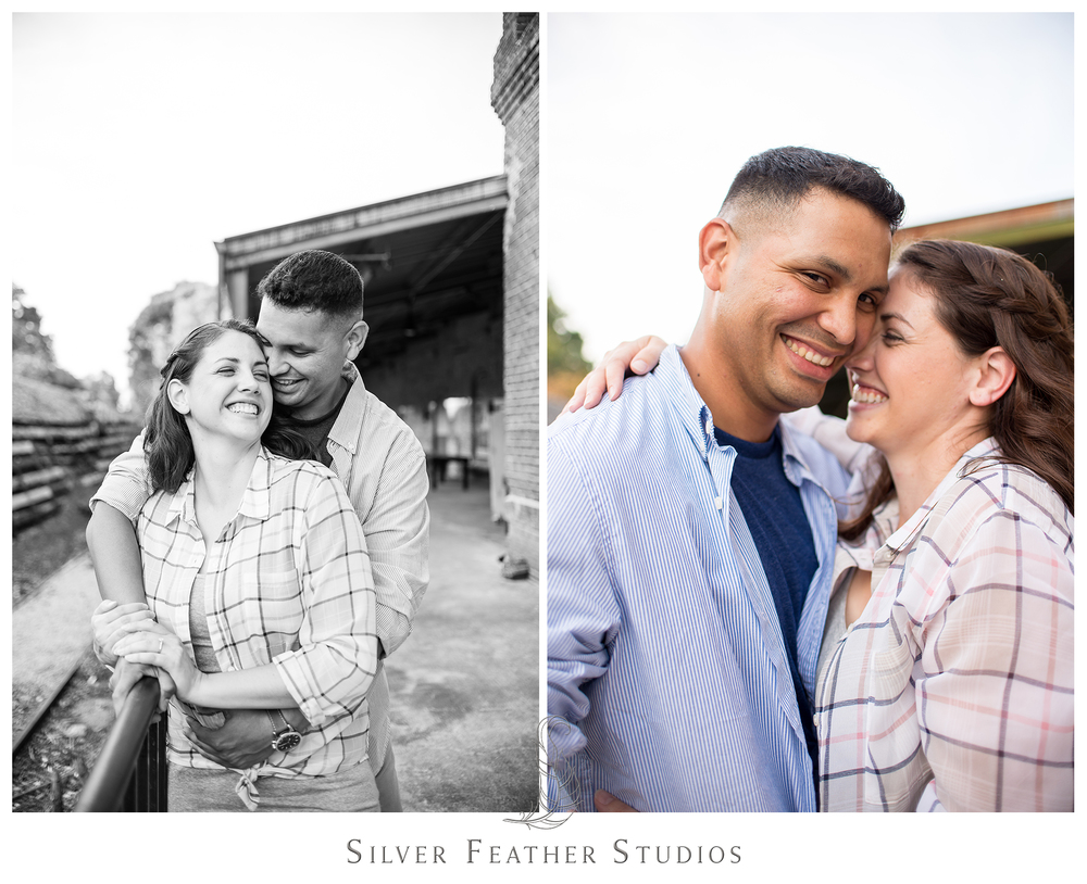 romantic and fun engagement session, belt line station, durham wedding photography.