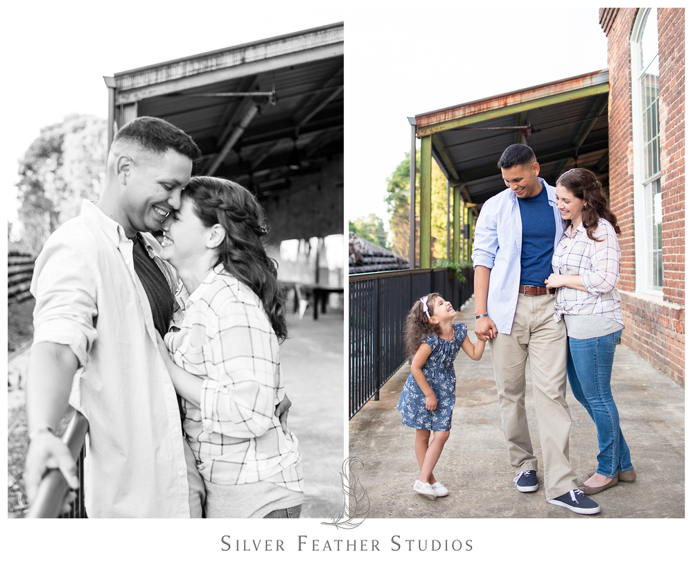 military couple pose with their family at their belt line station engagement session