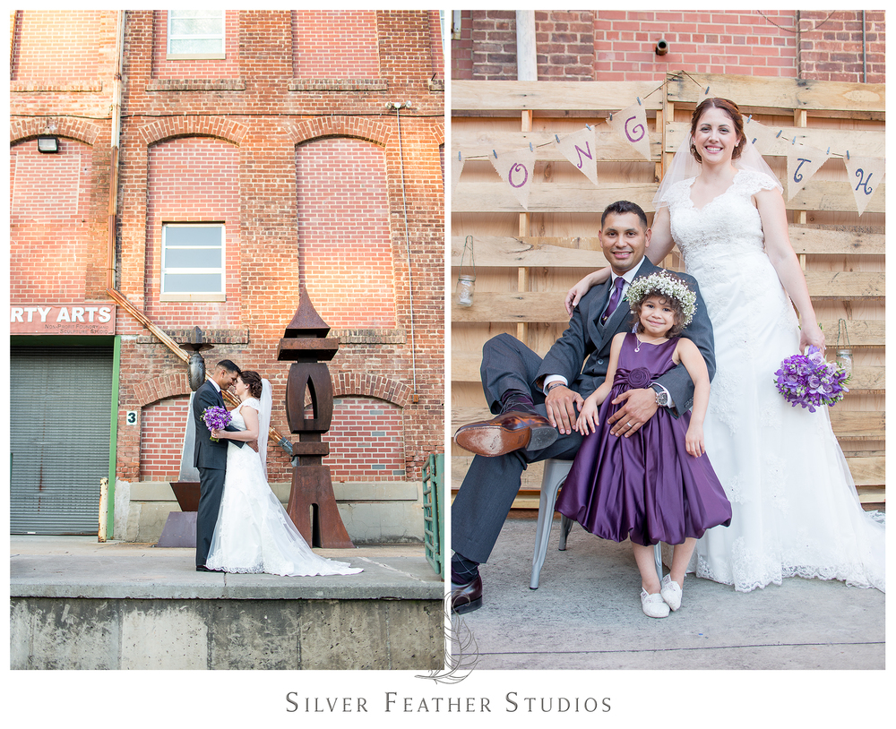 Purple industrial inspired wedding photographed by durham wedding photographer, silver feather studios.