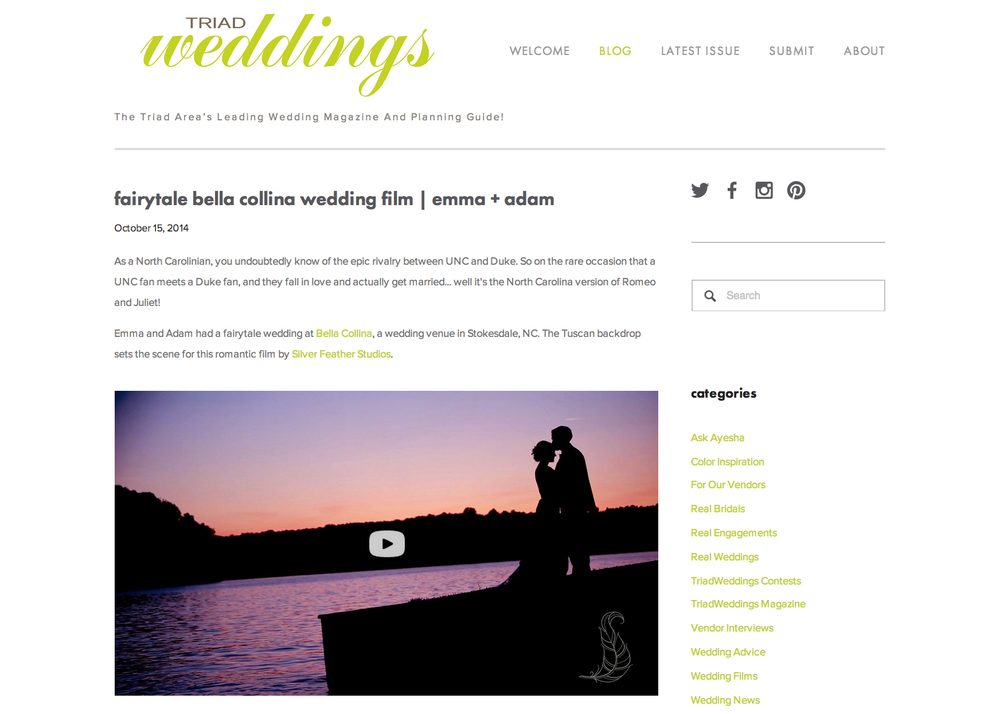 Videography by Silver Feather Studios featured on the TriadWeddings blog.