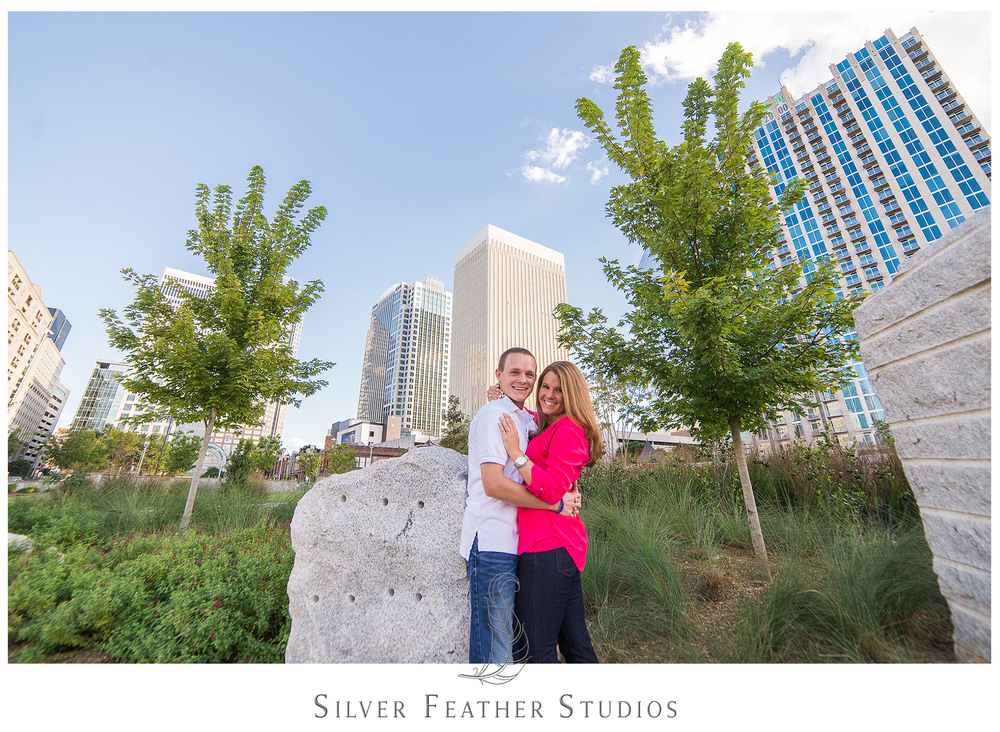 Addison and Ashley's uptown Charlotte Engagement session with Silver Feather Studios.