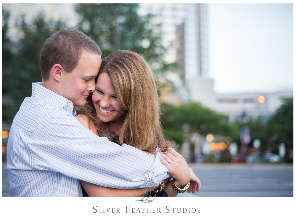 Sweet and spontaneous uptown Charlotte engagement photography.