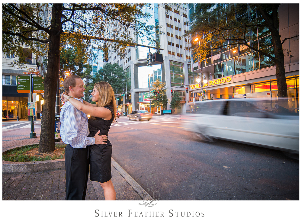 Awesome motion photography at this uptown charlotte engagement session.