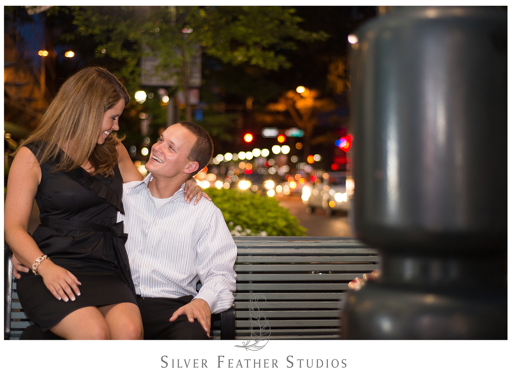 gorgeous night time bokeh in uptown charlotte with ashley and addison.