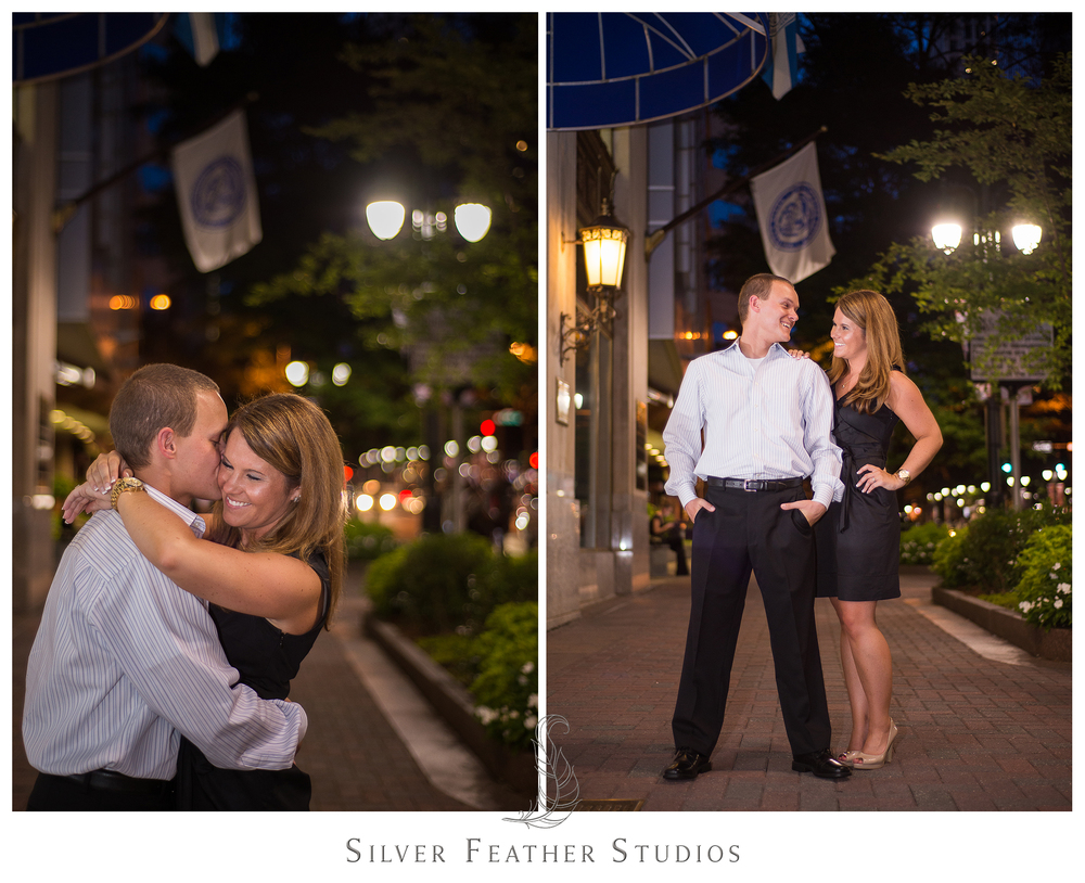 gorgeous night time photography with ashley and addison at their charlotte, north carolina engagement session.