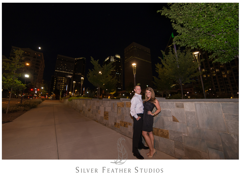 uptown charlotte skyline at night. image by silver feather studios.