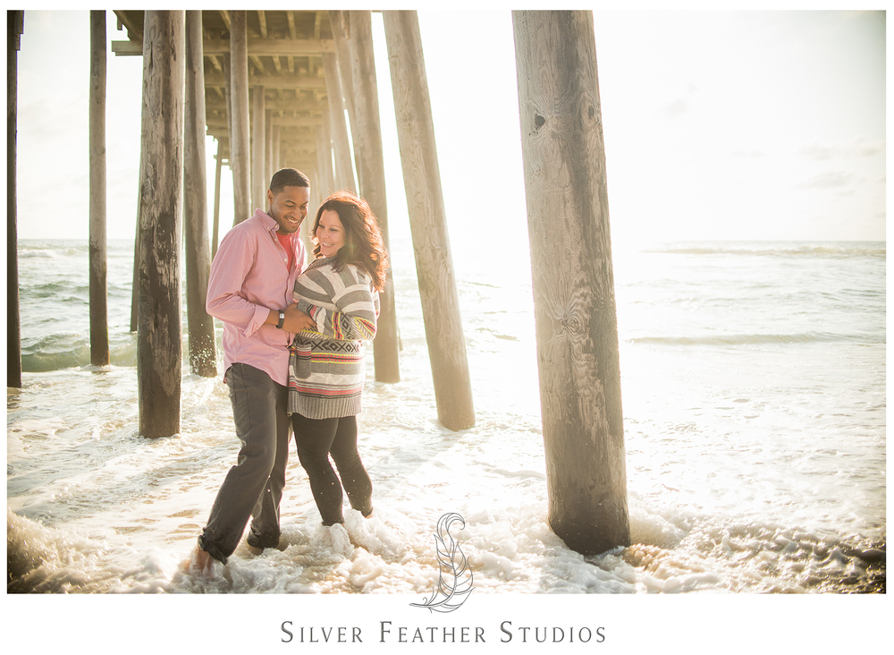 An Outer Banks couples portraitsession by Burlington, NC wedding photographer, silver Feather Studios.