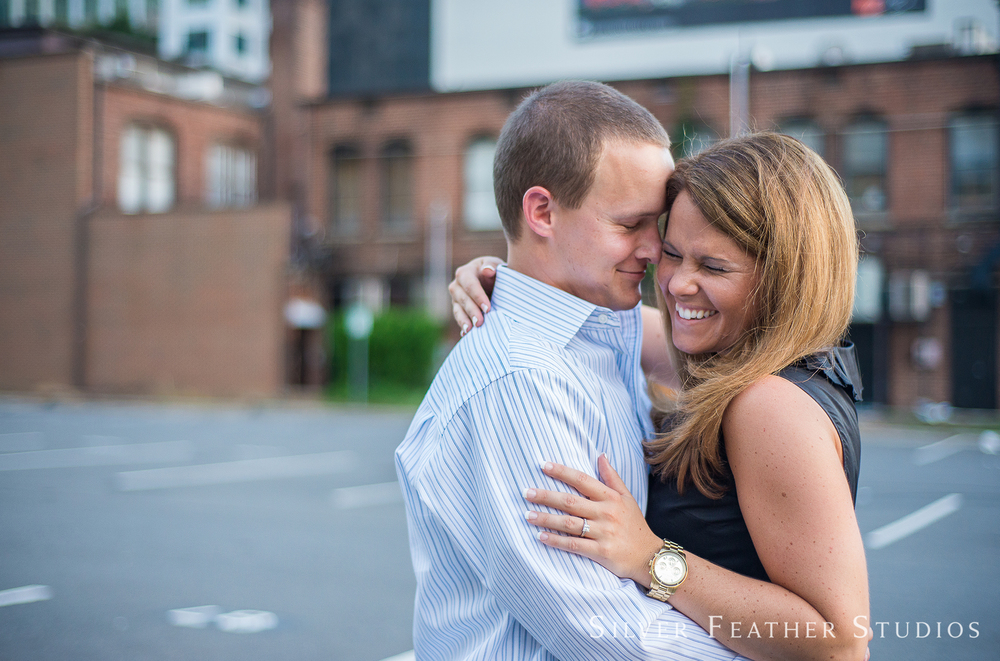 Ashley and Addison's uptown Charlotte engagement session by Charlotte wedding photographer.