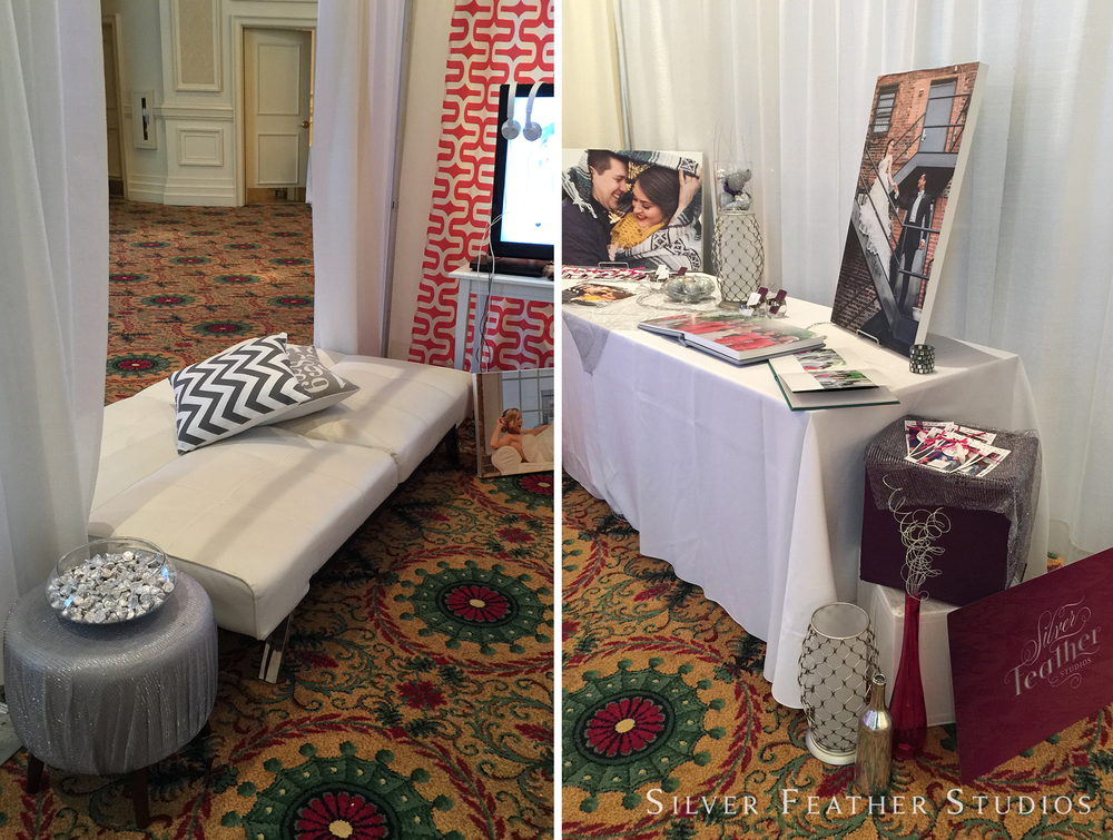 Bridal show booth for Silver Feather Studios at Marry Me.