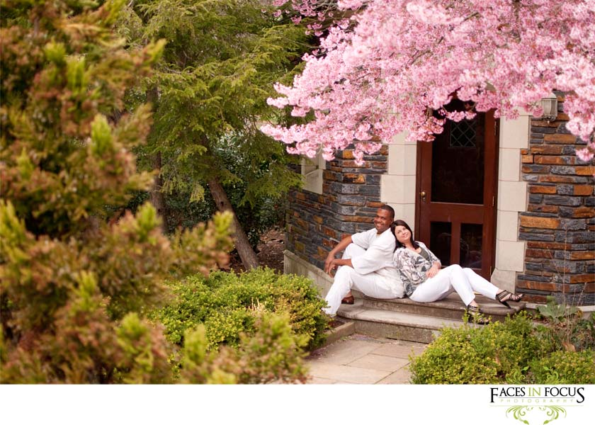 Cherry blossom trees at a Duke Gardens engagement.