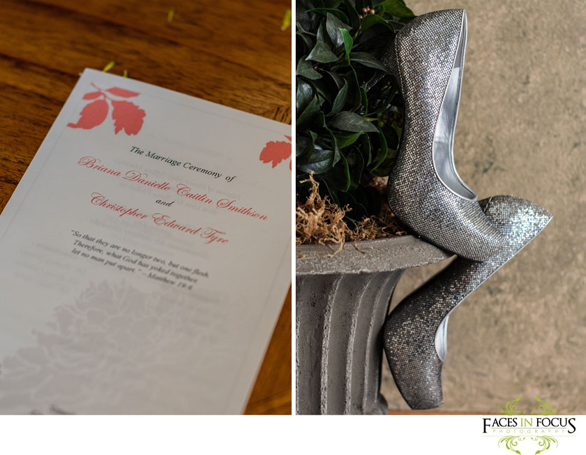Bridal details: silver sparkly shoes, coral wedding programs; Duke North Pavilion wedding by silver feather studios.