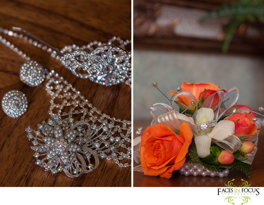 Orange rose boutonnieres; sparkly bridal jewelry, jehovah's witness wedding by silver feather studios.