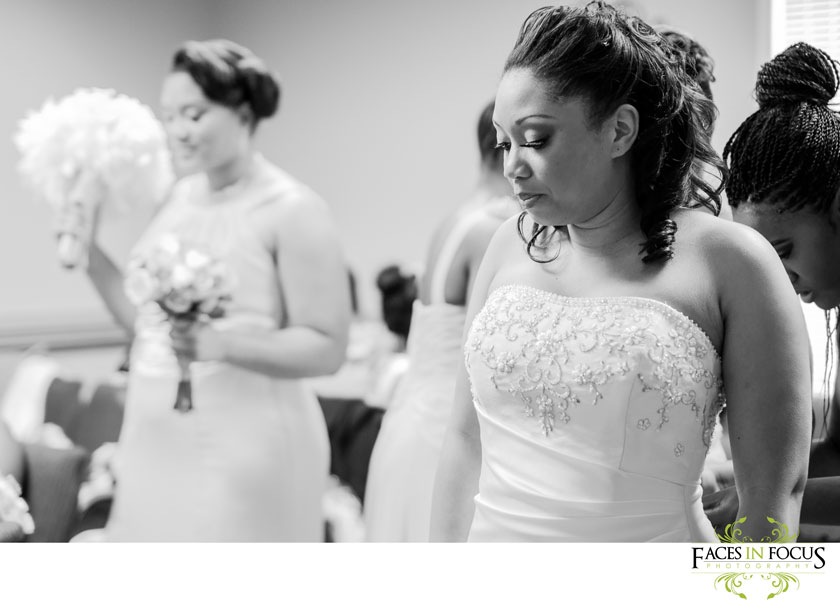 Briana getting ready at the Kingdom Hall of Jehovah's Witnesses, Durham wedding photography.