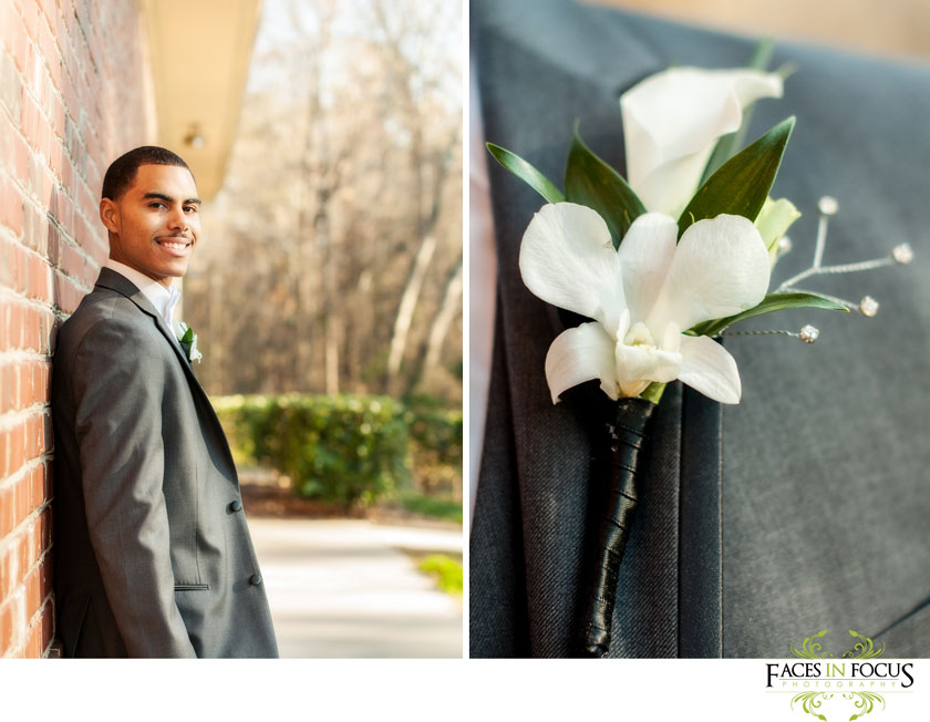 gardenia boutonniere for the groom, Chris before his kingdom hall wedding in Durham. © Silver Feather Studios