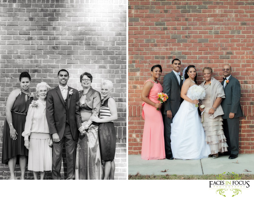 Family photos outside the kingdom hall in durham, north carolina. © silver feather studios, durham wedding photographer