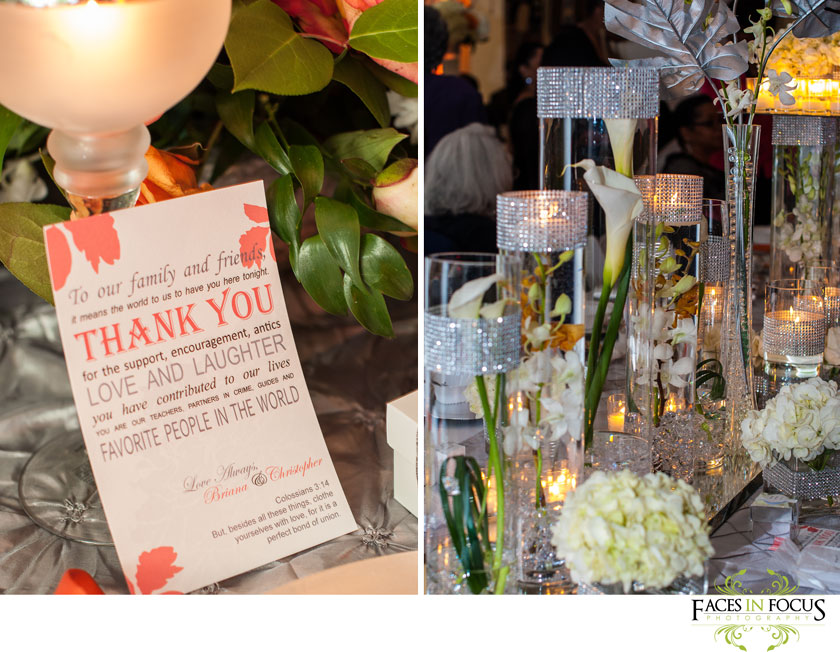 Love in Bloom designs and decorates the tables at Duke North Pavilion in Durham.