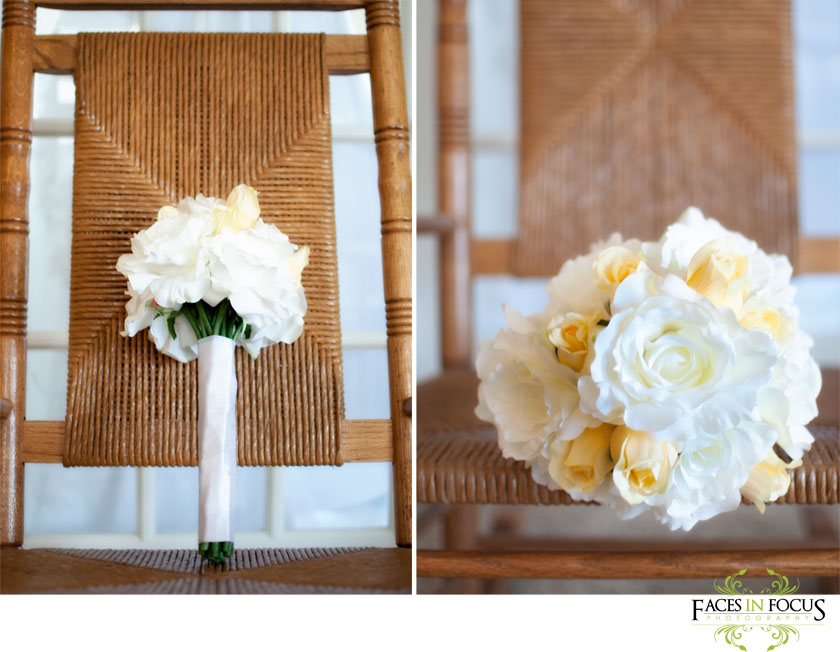 Yellow and White rose bouquet on wicker rocking chair in Burlington.