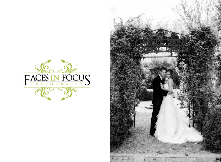 Couple pose under arch at Alamance Arts Council in Graham.