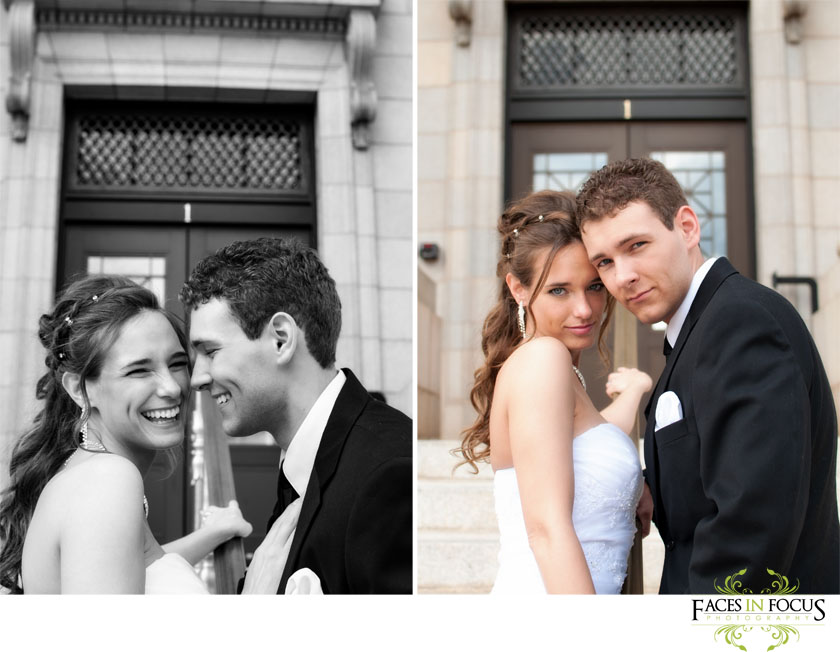 Bride and Groom in front of Alamance County Courthouse