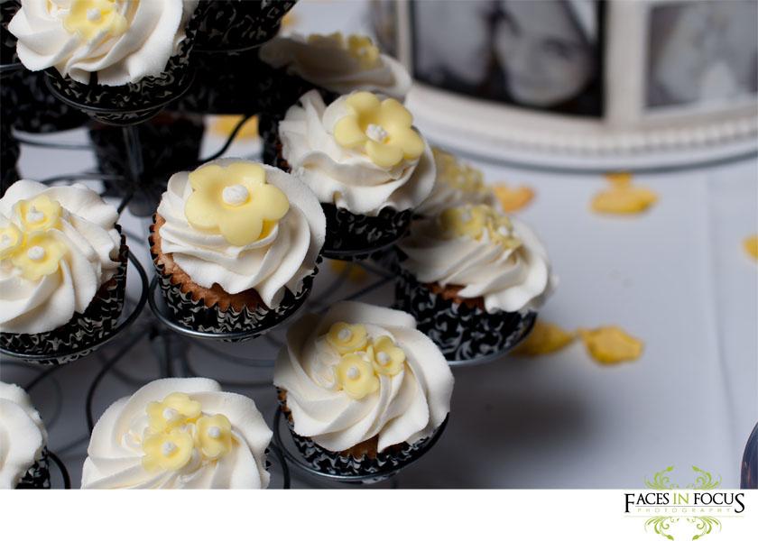 Black and white cupcakes with yellow flower - Burlington Wedding Photo & Video.