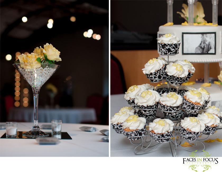 Margarita glass centerpieces and cupcakes - Burlington Wedding Photographer