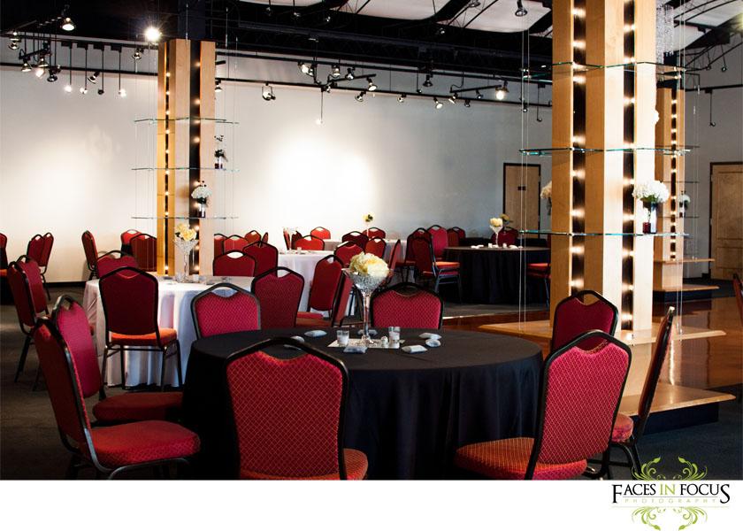 Black and yellow decor at The Palladium Event Center in Burlington.