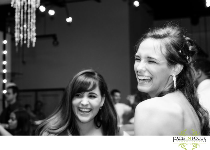 Crystal laughs at the reception in Burlington, NC