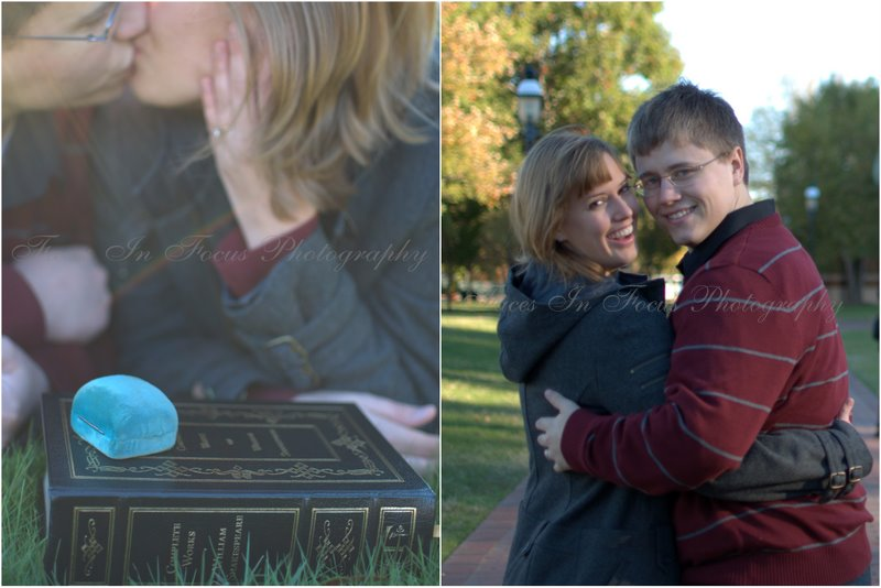 Book of sonnets, engagement ring box and two Elon University students
