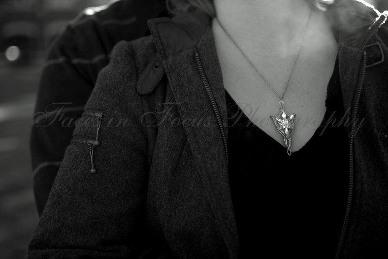 Arwen displays her Evenstar necklace at Elon University